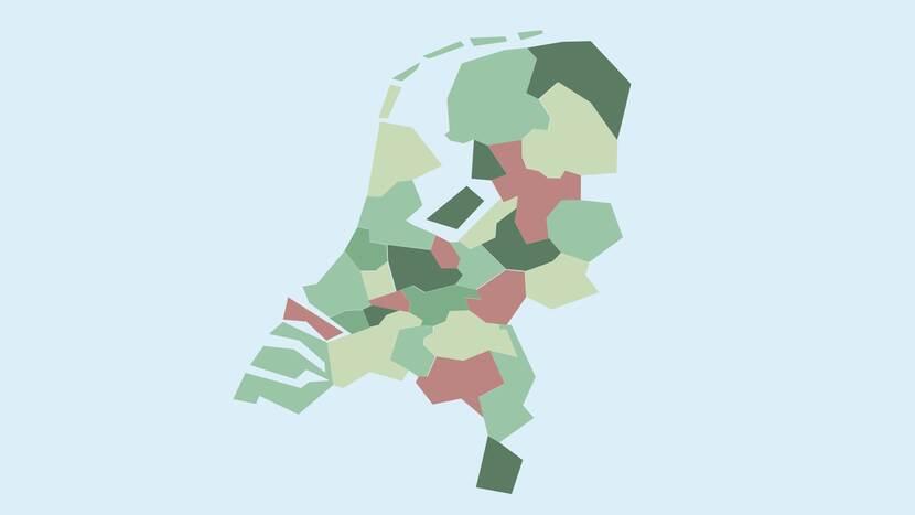 Kaart van Nederland onderverdeeld in regio's